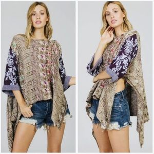 NWOT Free People Fressia Pullover Poncho Sweater S